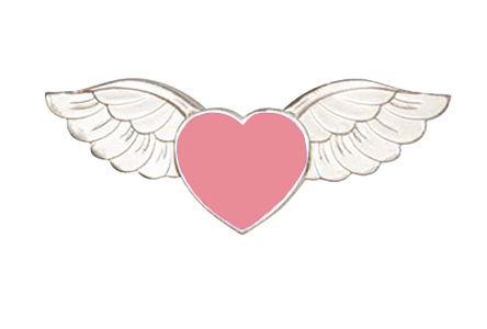 Pink Heart Angel Wings Pin Love