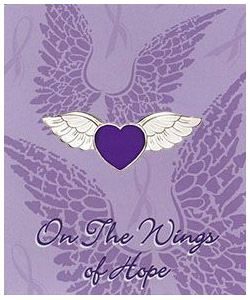Hope Angel Wings Purple Heart Pin and card