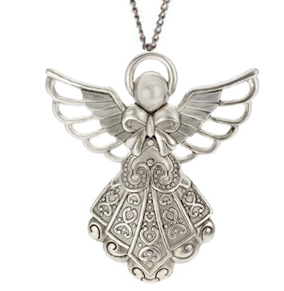 Angel Necklace Large Antique Silver