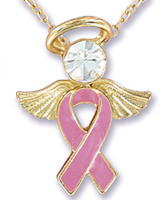 Pink Ribbon Angel Necklace Gold
