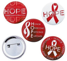 Red & White Hope Buttons (Pkg of 12)