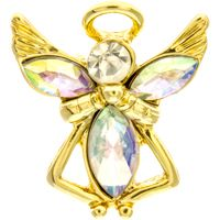 Clear Crystal Birthstone Angel Pin