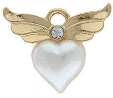 Angel Wings Pin Pearl Heart Gold or Silver