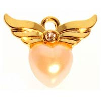 Angel Wings with Pearl Heart Pin