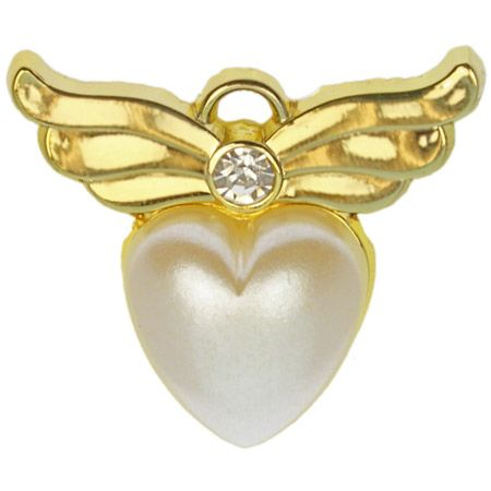 Pearl Heart Angel Wings Pin (Gold or Silver)