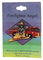 FireFighter Silver Angel Pin on Story Card