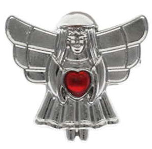 Angel Pin with Heart Gemstone Pin