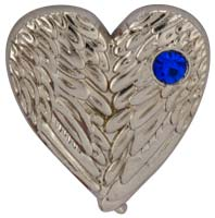 Folded Angel Wings Silver Heart Pin with Crystal