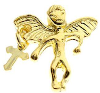 Gold Guardian Angel Pins, Dangling Cross