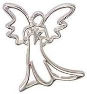 Silver Outline Decorative Angel Pin