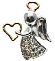 Appreciation Angel Pin Silver Gold Rhinestones