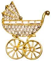 Rhinestone Baby Stroller Brooch