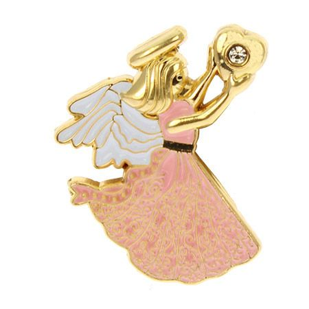Love Angel with Heart Pin Forever Mine - Gold