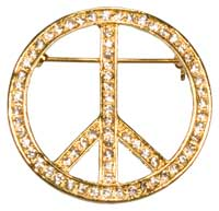 Rhinestone Peace Sign Brooch Gold