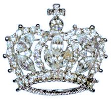 Rhinestone Princess Crown Brooch