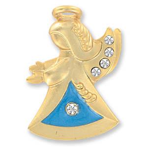 Mom Guaedian Angel Pin Gold & Crystals
