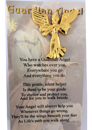 Guardian Angel Lapel Pin Outstretched Arms Gold
