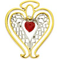 Healing Angel Red Crystal Heart Lapel Pin