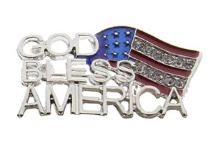 God Bless America USA Flag Rhinestone Pin