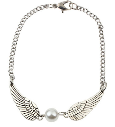 Silver Angel Wings Bracelet or Anklet with Pearl