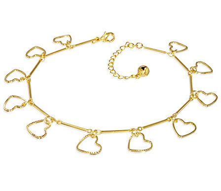 Gold Plated Love Heart Bracelet or Anklet & Extender