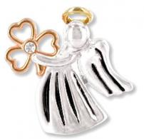Irish Angel Pin with Lucky Clover
