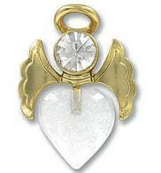 Special Angel Heart Pin Gold w Rhinestones