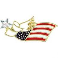 US Flag PATRIOTIC  Angel Pin Wings & Wishes