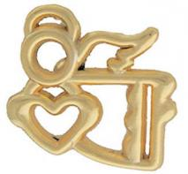 Flying Gift Angel with Heart Pin Gold