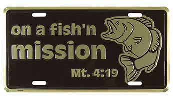 On a Fish'n Mission License Plate