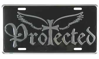 Protected Wings & Cross License Plate