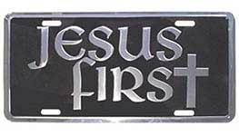 Black and Silver Jesus First License Plate