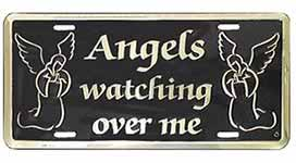 Angels Watching Over Me License Plate Gold