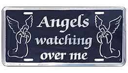 Angels Watching Over Me Silver License Plate
