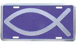 Christian Fish Blue Auto License Plate