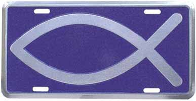 Christian Fish Blue and Silver Auto License Plate