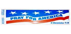 Pray for America Bumper Sticker. II Chronicles 7:14. Size: 3 x 11. Printed on Removable weather-resistant vinyl.