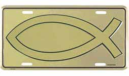 Christian Jesus Fish License Plate Gold