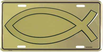 Christian Jesus Fish License Plate Gold