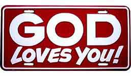 God Loves You License Plate For Auto