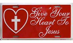 Give Your Heart to Jesus License Plate