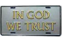 In God We Trust license plate. Golden yellow letters on silver auto license plates - metal.