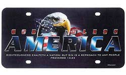 God Bless America License Plate w/ Eagle