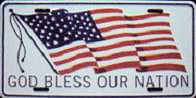 God Bless Our Nation License Plate. Auto license plates 6 x 12 with baked enamel finish- metal.