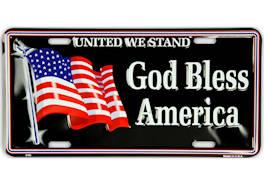 God Bless America USA Flag License Plate