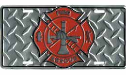 FireFighter Auto License Plate  Diamond Plate