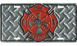FireFighter Auto License Plate Diamond Plate