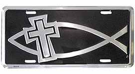 Fish with Cross License Plate Black Silver