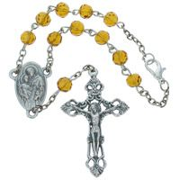St. Anthony Topaz Auto Rosary Beads & Crucifix