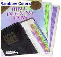 Vertical Rainbow colored Bible page marker tabs. 1 inch size, fits 7 inch to 12 inch Bibles. Self adhesive, easy to attach.